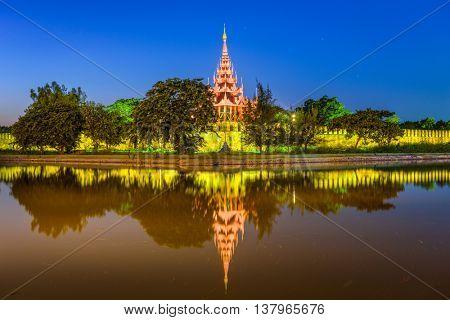 Mandalay, Myanmar at the royal palace moat.