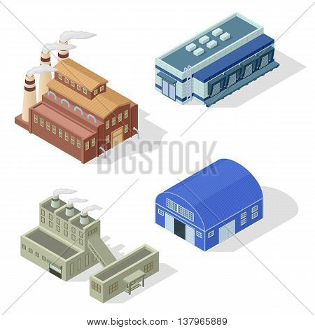 Collection of isometric industrial buildings and other factory objects. Modern structure isometric factory combine together industrial area. Isometric factory production warehouse construction.