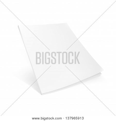 Blank Flying Cover Of Magazine, Book, Booklet, Brochure. Illustration Isolated On White Background. Mock Up Template Ready For Your Design. eps10 vector