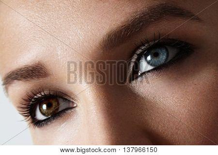 Closeup Woman's Eyes Photo With Heterochromia Iridum