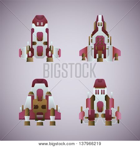 Vector Fantastic Space Ships Set In Flat Style
