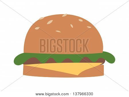 Big hamburger on white background and burger vector illustration. Grilled sandwich burger with cheese and snack big burger american cheeseburger delicious cuisine. Classic tasty restaurant fast food.
