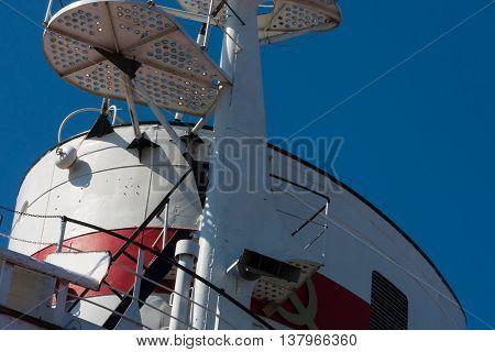 KALININGRAD RUSSIA - June 19: Museum of World oceanoutdoor exposition Research vessel Museum Knight on June 19 2016 in Kaliningrad Russia