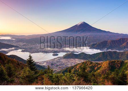 Mt. Fuji, Japan over lake Kawaguchi.