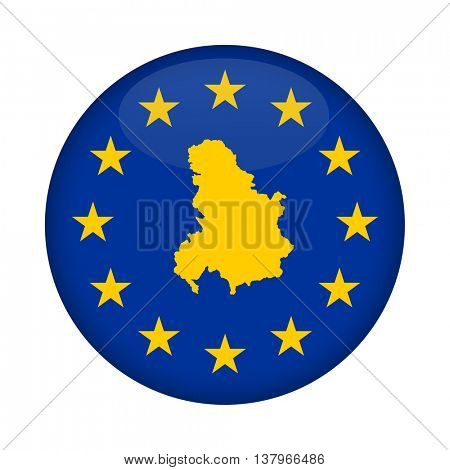 Serbia and Montenegro map on a European Union flag button isolated on a white background.