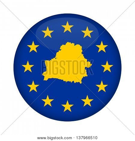 Belarus map on a European Union flag button isolated on a white background.