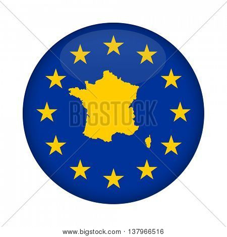 France map on a European Union flag button isolated on a white background.