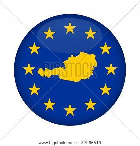 Austria map on a European Union flag button isolated on a white background.