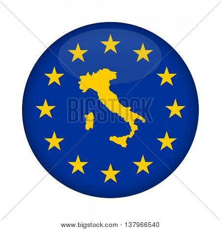Italy map on a European Union flag button isolated on a white background.