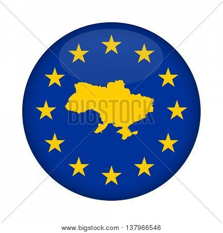 Ukraine map on a European Union flag button isolated on a white background.