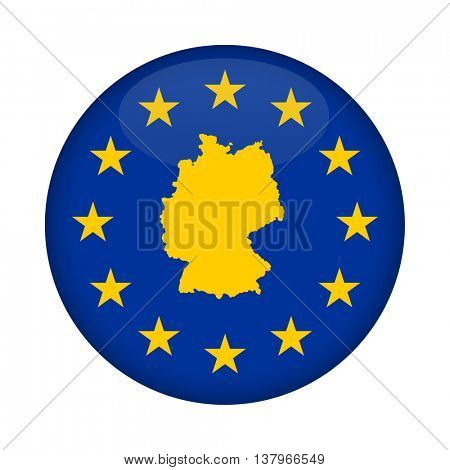 Germany map on a European Union flag button isolated on a white background.