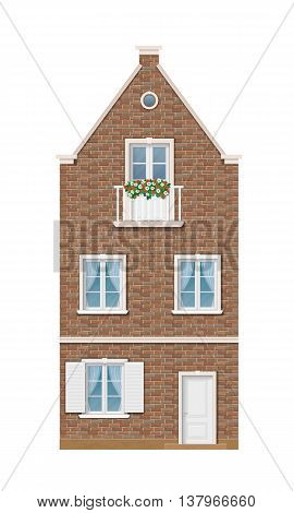 The historic facade of the European brick house. Balcony decorated with flowers. Traditional old street of the city. Vector detailed architectural illustration.