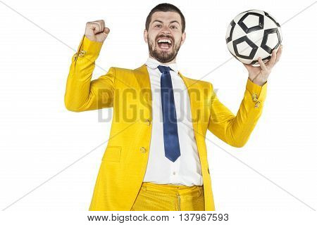 Manager Performs A Gesture Of Victory, Hands Up