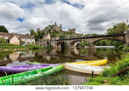 Colorful canoes on the river Anglin at Angles-sur-l'Anglin, France