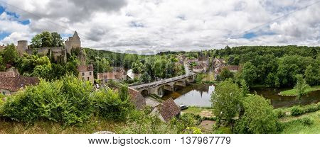 Panoramic view over the village of Angles-sur-l'Anglin, France