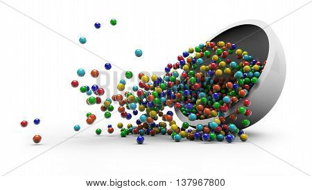 Colorful candy falling in glass plate 3D illustration