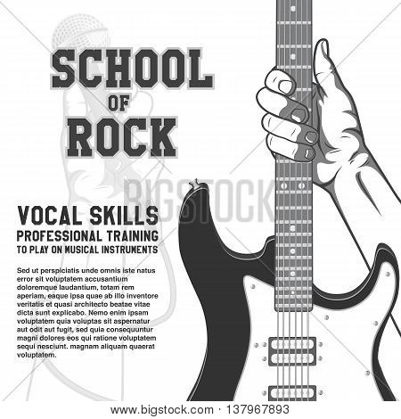 School of rock poster. Hand holding guitar. Black and white vintage illustration.