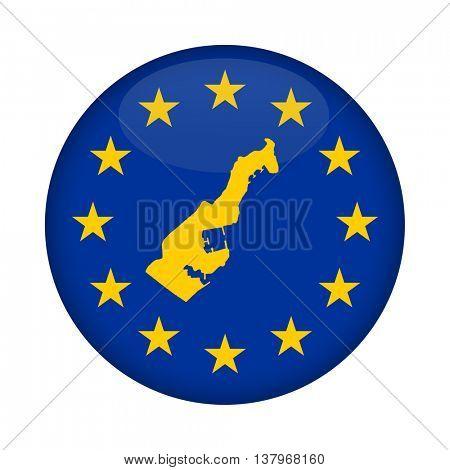 Monaco map on a European Union flag button isolated on a white background.