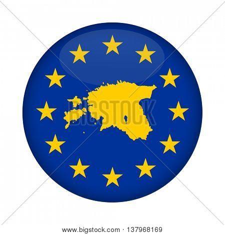 Estonia map on a European Union flag button isolated on a white background.
