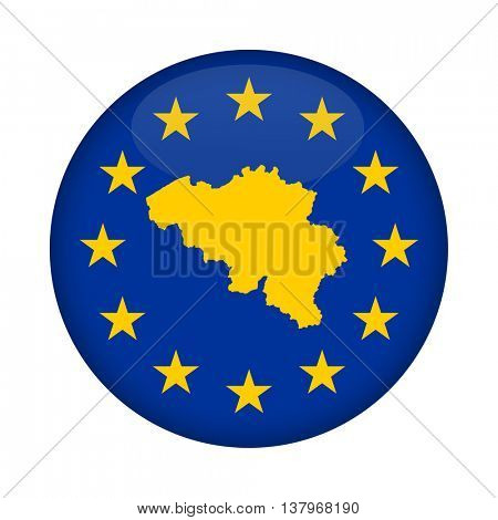 Belgium map on a European Union flag button isolated on a white background.