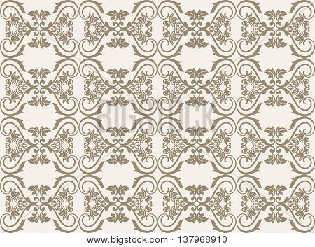 Vintage Damask floral classic pattern ornament. Vector background for cards web fabric textures tile mosaic. Taupe color