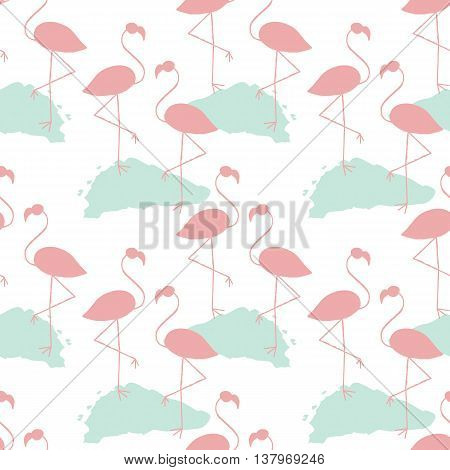 Flamingos Seamless Pattern.