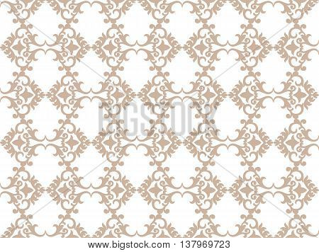 Vector Vintage Damask floral classic pattern ornament. Vector background for cards web fabric textures tile mosaic. Taupe color