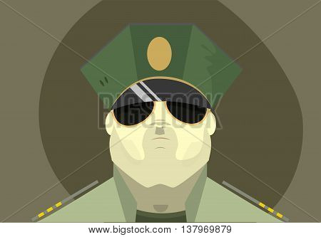The soldier's face with glasses and cap