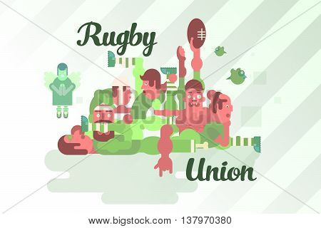 Illustration of rugby union players in a scrum. The humorous style