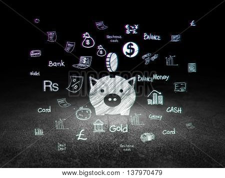 Banking concept: Glowing Money Box With Coin icon in grunge dark room with Dirty Floor, black background with  Hand Drawn Finance Icons