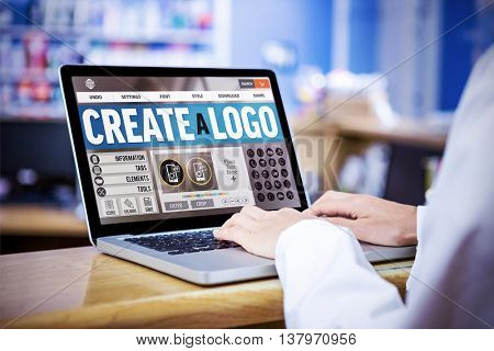 Webpage for create a logo against businessman using a laptop