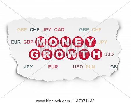 Currency concept: Painted red text Money Growth on Torn Paper background with  Currency