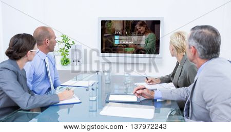 Business team looking at time clock against login screen with smiling woman with pad and coffee