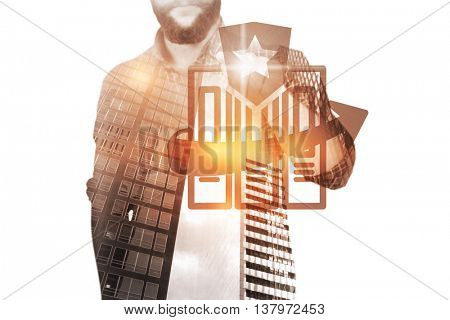 Mid section of man pointing against digitally generated image of files with star sign and arrow