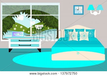 The interior of bedroom overlooking the river. Bed, dresser, tulips in a vase vector illustration