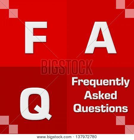FAQ text alphabets written over red background.