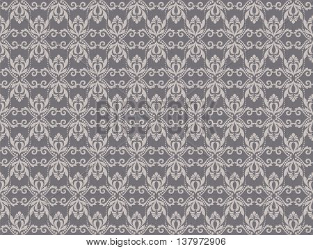 Vintage Abstract geometric floral classic pattern ornament. Vector background for cards web fabric textures tile mosaic. Taupe color