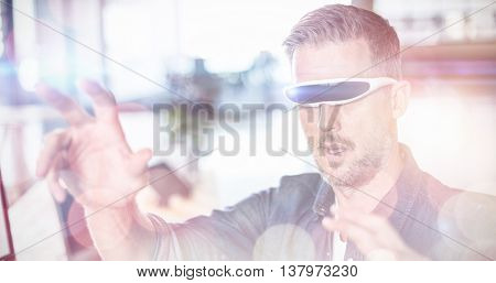 Man wearing virtual glass in creative office