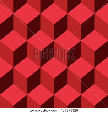 Abstract Seamless pattern vector red cube. Vector Illustration