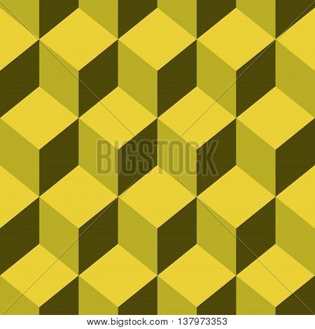Abstract Seamless pattern vector yellow cube. Vector Illustration