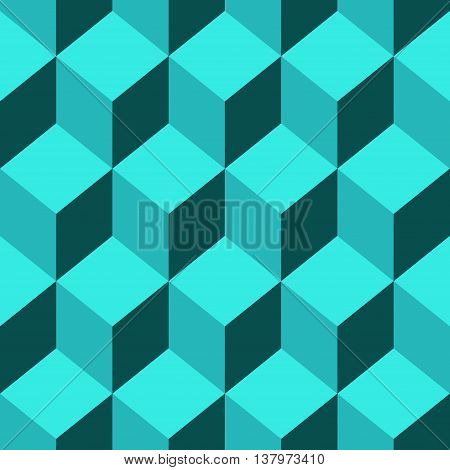 Abstract Seamless pattern vector blue cube. Vector Illustration
