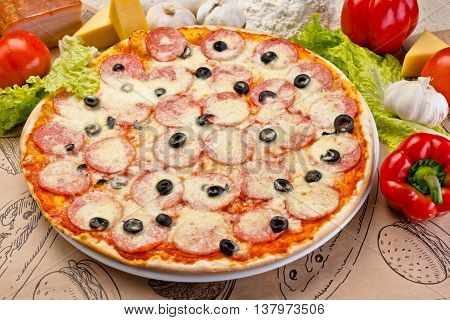 Italian pizza with bacon olives and salami vegetables cheese fresh vegetables Italian kitchen served in cafes restaurants pizzerias snack bars