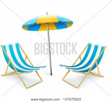 Stripped Deck-chair With Umbrella Beach Inventory