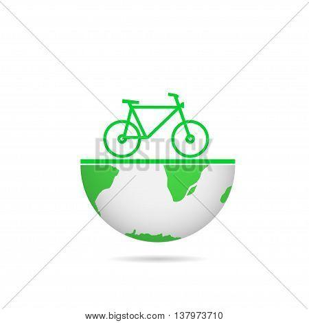 Green earth. Green Bicycle. Green bike. Eco concept. Bio concept Green planet