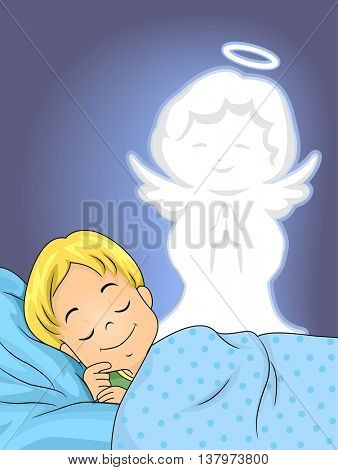 Illustration of a Sleeping Boy Guarded by His Guardian Angel