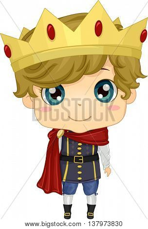 Illustration of a Boy Wearing a Prince Costume