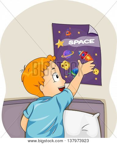 Illustration of a Boy Sticking a Space Themed Poster on His Wall