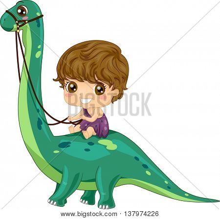 Illustration of a Little Caveman Riding a Brontosaurus
