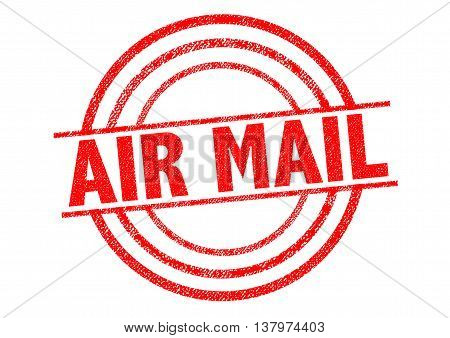 AIR MAIL red Rubber Stamp over a white background.