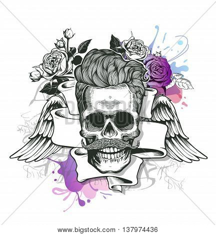 Skull. Hipster skull silhouette with mustache and arose in teeth with ribbon and bouquet of roses on a background. Vector illustration in vintage engraving style. Perfect for t-shirt print.
